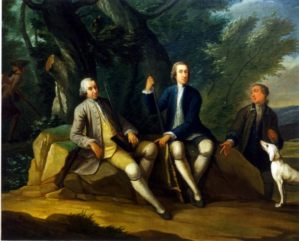 Joseph van Aken, A sporting Conversation Piece: two gentlemen with their guns and dogs rest at the edge of a wood; a third approaches them whilst a fourth, gun in hand, walks into the wood