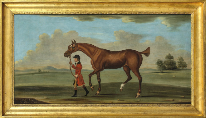 Daniel Quigley, Mol-Ro, a chestnut racehorse, led by a liveried groom