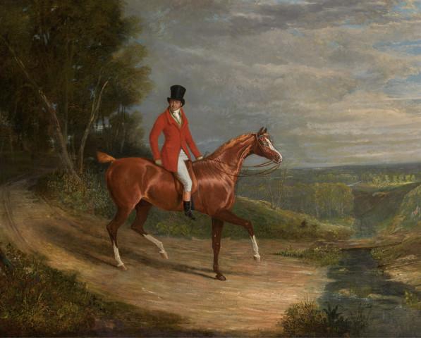 John Frederick Herring Snr., A gentleman riding a chestnut hunter, wearing hunting habit, an extensive landscape beyond