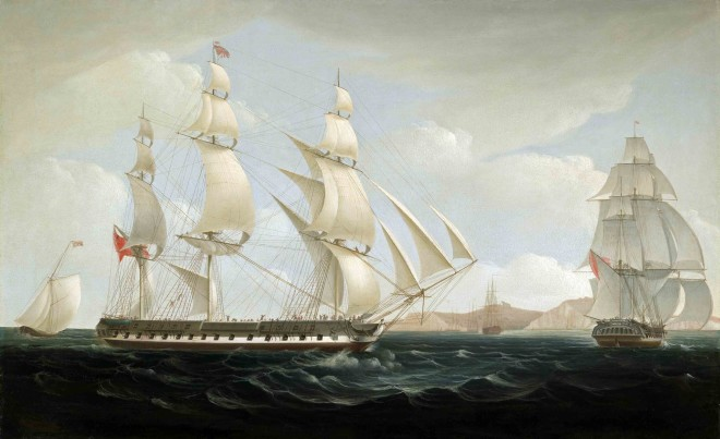 The East Indiaman 'Ceres' (High Scott, Captain) in two positions off St. Helena