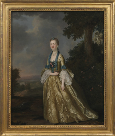 Portrait of a lady, full length, a landscape beyond