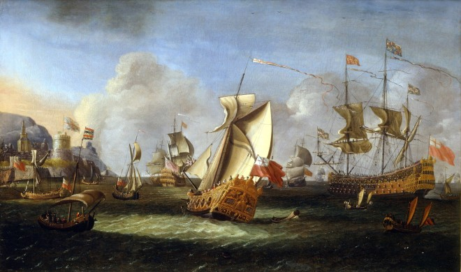 King William III off the coast of Ireland, June 1690, with an English Royal Yacht and the Lord High Admiral's first-rate flying the Royal Standard