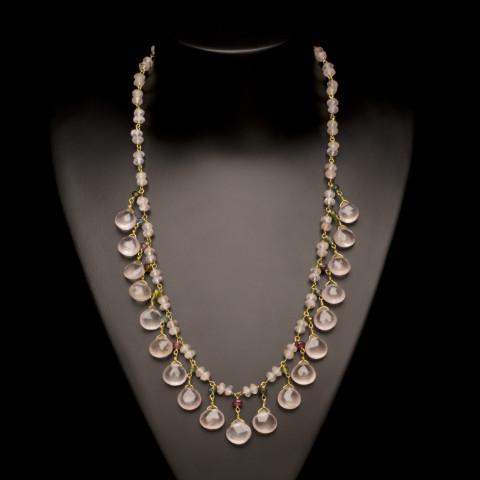 Rose Quartz and Tourmaline Petal Necklace