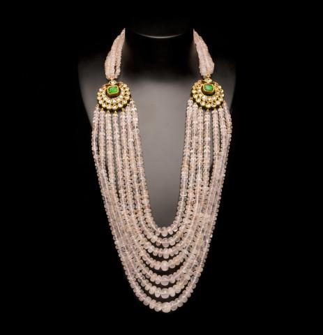 Rose Quartz and Diamond Kundan Necklace