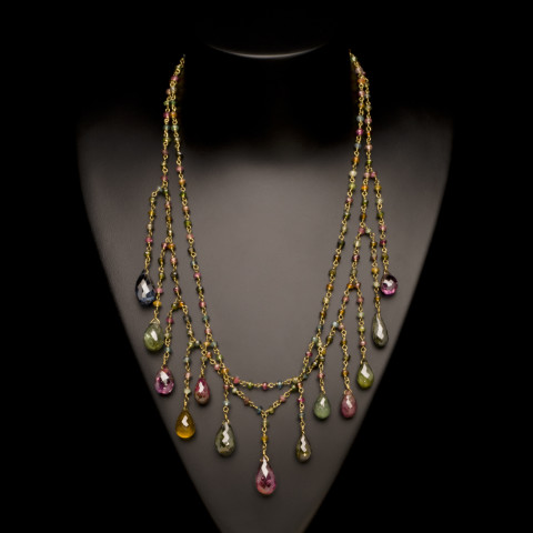 Tourmaline Rain Drop Necklace