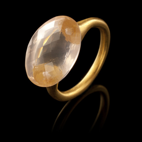 Etruscan Rose Quartz and Gold Ring