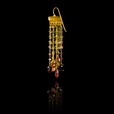 Tourmaline and Gold Rain Drop Earrings