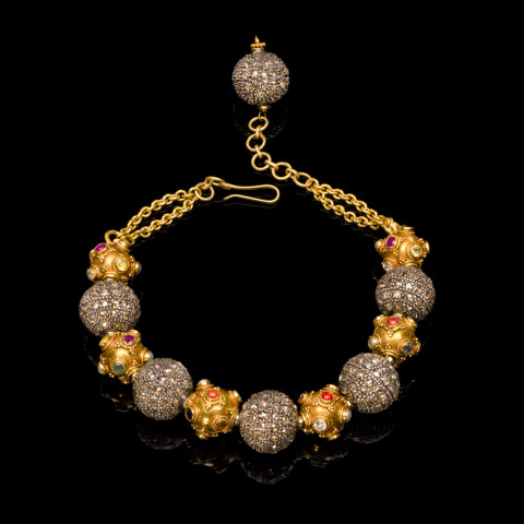 Brown Diamond and Gold Bead Bracelet.