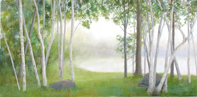 Birches Fog, North Lake