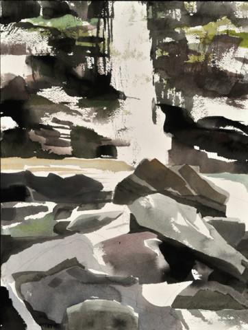 Mariella Bisson, Plattekill Falls, Rock and Waterfall Field Painting