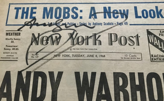 Frontpahe of Daily News - Actress shoots Andy Warhol, SIGNED
