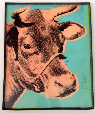Andy Warhol, Two silkscreened Cows from Ed. Kienholz.