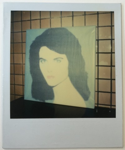 Unique Polaroid portrait of Maria Shriver (blue version)