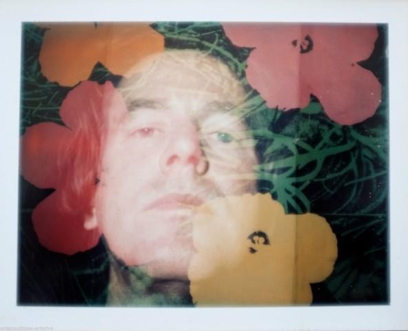 Unique Andy Warhol flower double exposure polaroid portrait.