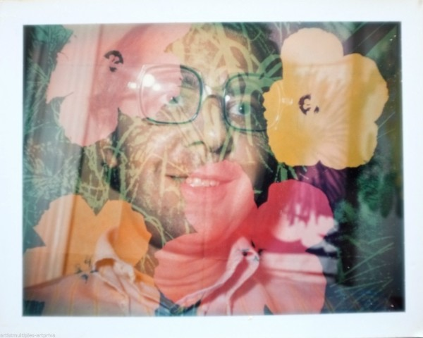 Unique Andy Warhol flower double exposure polarodi portrait.