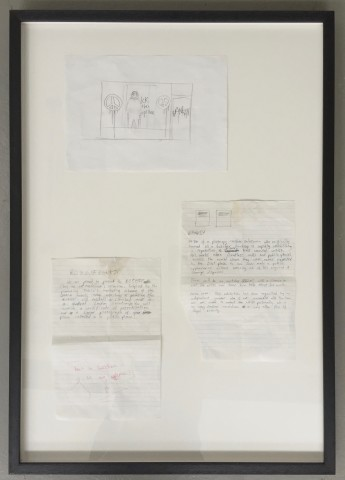 %22Riot cop drawing and two Banksy letters%22 (On loan for exhibition)