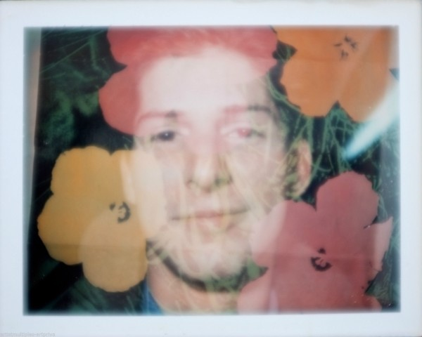 Brigid Polk, Unique Andy Warhol flower double exposure polaroid portrait, 1970