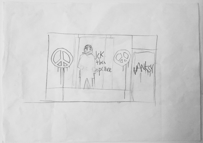 %22Riot cop drawing and two Banksy letters%22