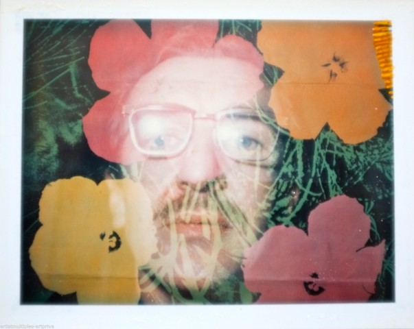 Unique Andy Warhol flower double exposure polaroid portrait.