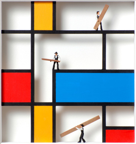 Homage to Mondrian, Mondrian in progress