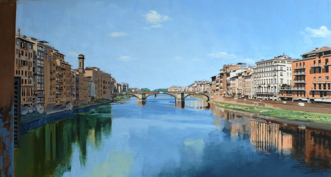 Study: View of the River Arno from Ponte Vecchio Bridge, Florence