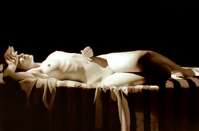 Reclining Nude with Striped Drape