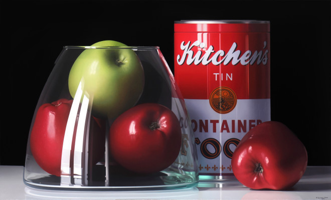 Pedro Campos, Four Apples and a Tin, 2018
