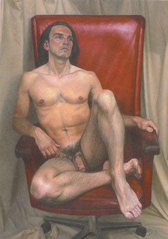 Naked Man, red chair