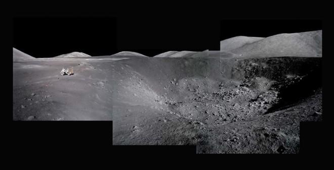 Michael Light, Composite of Harrison Schmitt at Shorty Crater; Note Orange Soil; Photographed by Eugene Cernan, Apollo 17, December 7-19, 1972, 1999