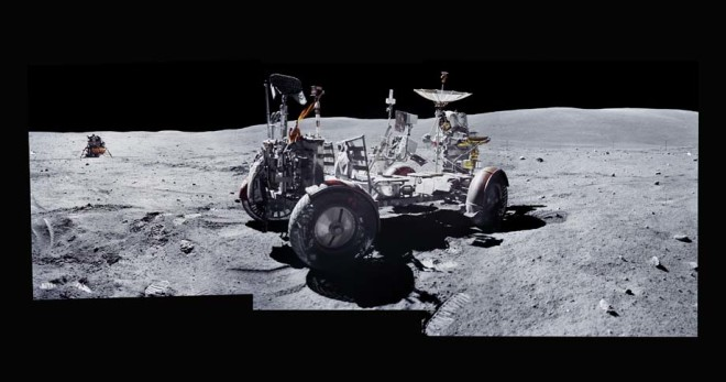 Michael Light, Composite of John Young and the Lunar Rover at the Descartes Highlands; Photographed by Charles Duke, Apollo 16, April 16-27, 1972, 1999