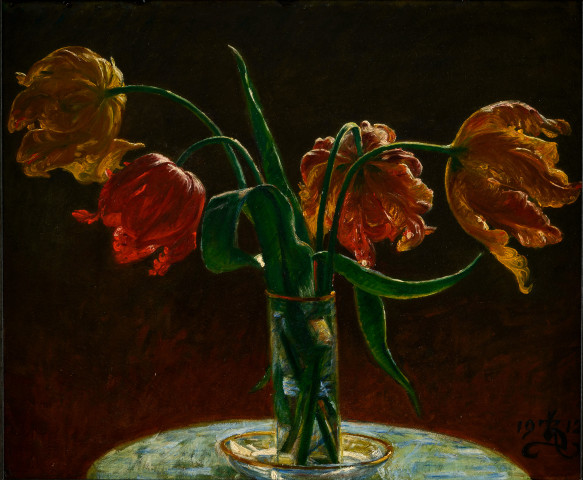 Still life with four tulips