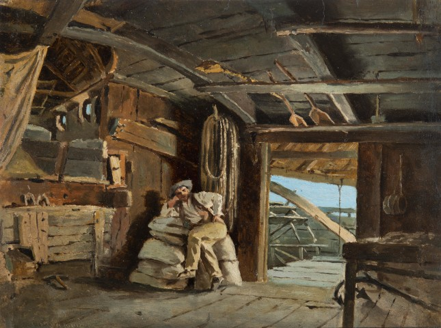 Man resting on a ship mill