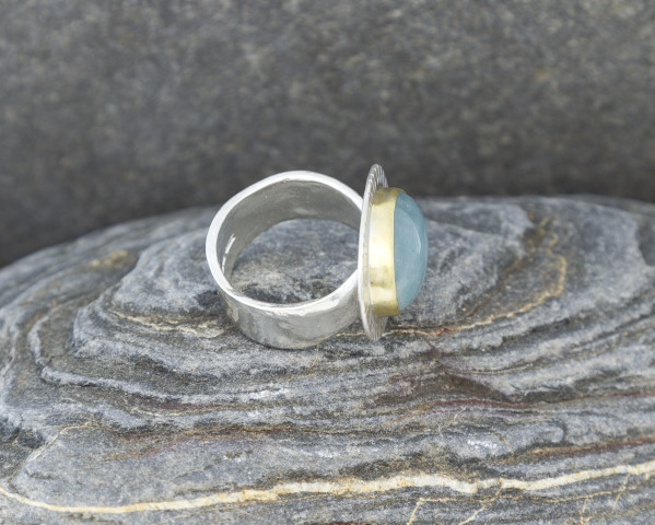 Textured Aquamarine Statement Ring with 18k Gold Setting