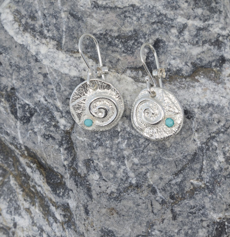 Swirly Drop Earrings with Turquoise
