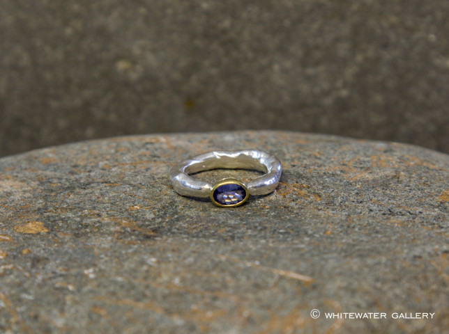 Rockpool Rustic Ring with Tanzanite set in 18k Gold oval setting