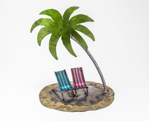 Kerry Whittle, Two Deckchairs with Palm Tree