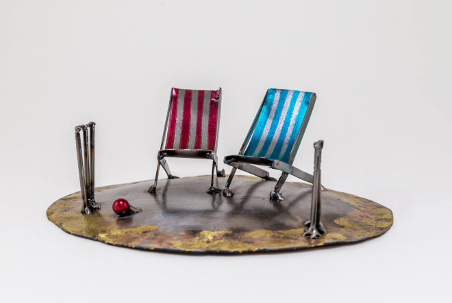 Kerry Whittle, Island Cricket with Two Deckchairs
