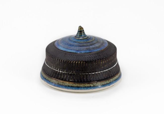 Hugh West, Lidded Circular Box, Blue Glaze & Chattered Edges