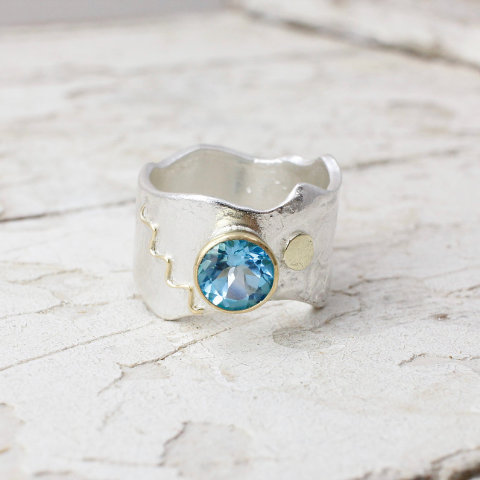 Textured Ring with 18k Gold Details and Swiss Blue Topaz