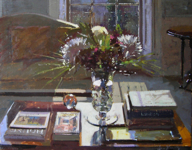 Bruce Yardley, COFFEE TABLE, FLOWERS AND BOOKS