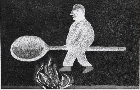 David Hockney, Riding around on Cooking-Spoon, 1969