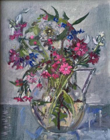 Muriel Mallows  Wild Flowers in Glass Jug
