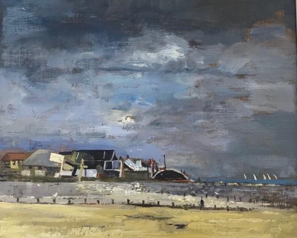 Muriel Mallows  Beach Under Dark Clouds