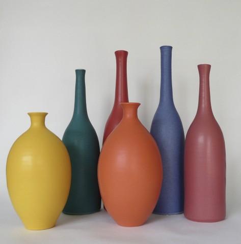 Red Coral Bottle,  Warn Orange oval vase,  Golden Yellow vase,  Jade green Bottle