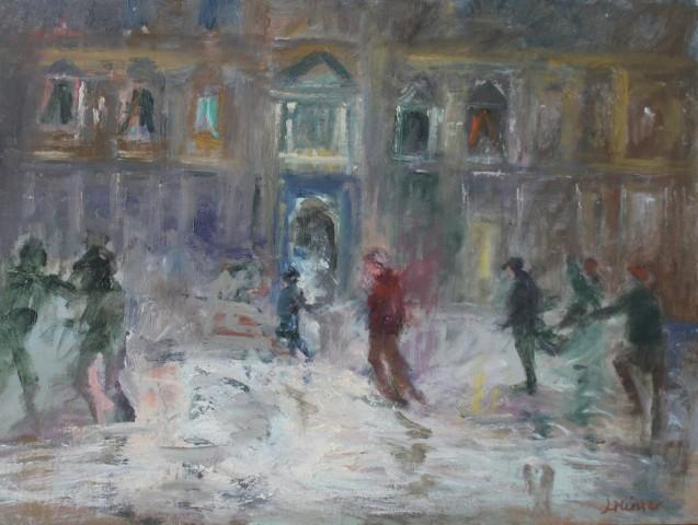 Lydia Minter, The ice skaters Somerset House, 2019