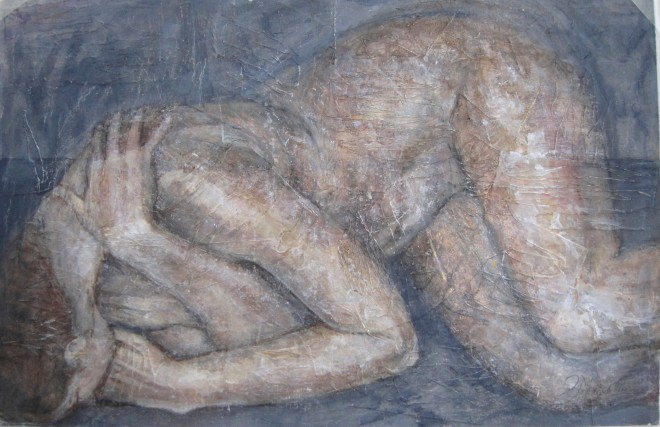 Susan Macarthur, Sleeping nude on grey,, 2019