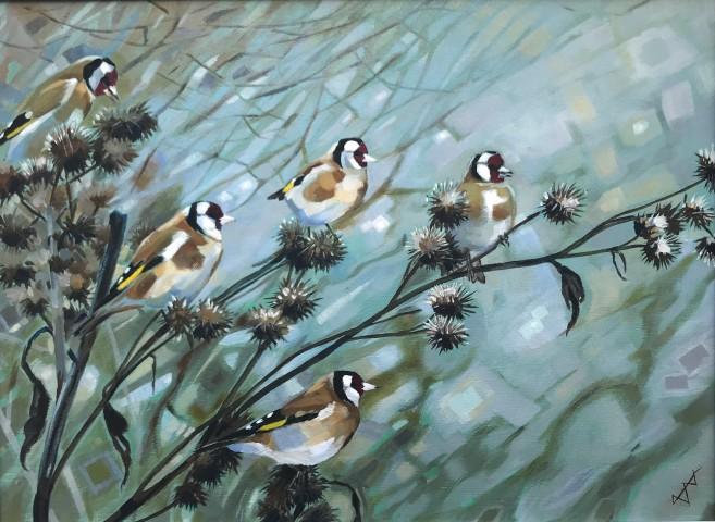 Brin Edwards, Five Goldfinches, 2018