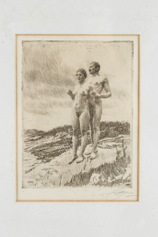Anders Zorn, ETCHING BY ANDERS LEONARD ZORN 'DE TVA' ('THE TWO'), 1916