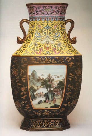 AN EXTREMELY FINE FACETTED FAMILLE ROSE VASE, Qianlong (1736 - 1795)