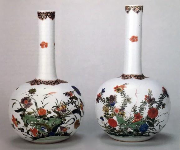 TWO RARE CHINESE FAMILLE VERTE BOTTLE VASES, Kangxi (1662 - 1722)